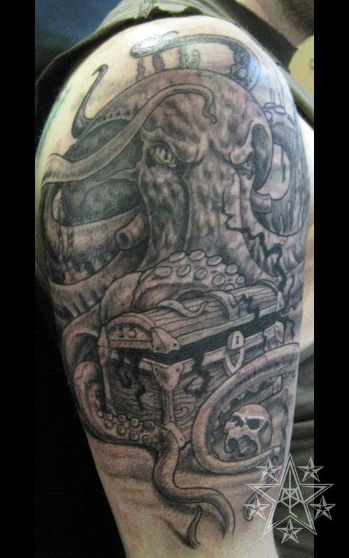 Treasure Chest Tattoo: Aquatic Tattoos_Muskegon, Michigan, USA